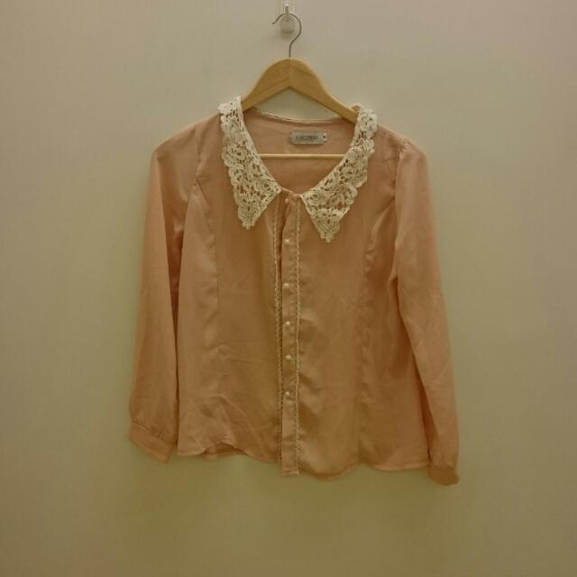 【二手】M號EYESCREAM粉紅蕾絲雪紡上衣