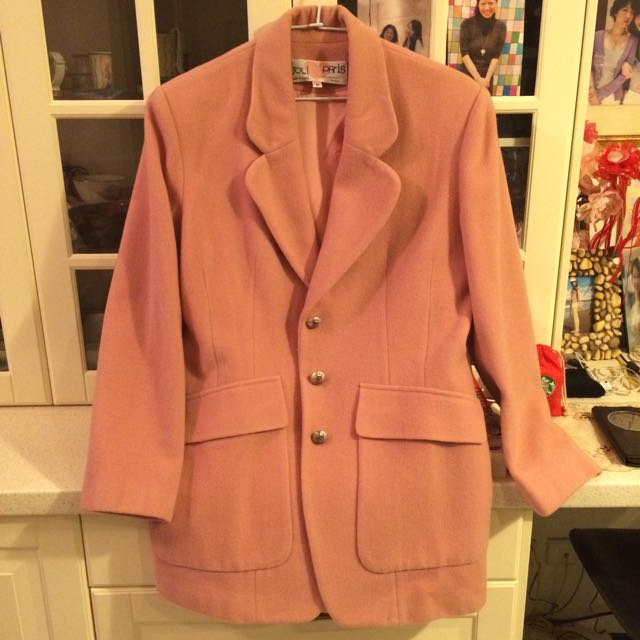 冬季款粉紅西裝外套