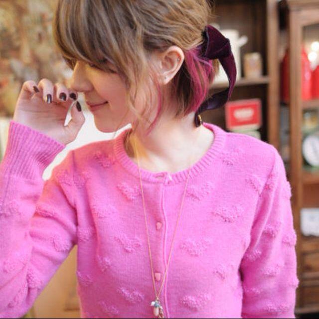 日本萌系桃粉色滿滿毛毛立體愛心心型鈕釦針織小外套