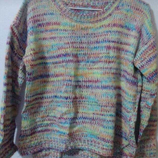 混色彩色毛衣