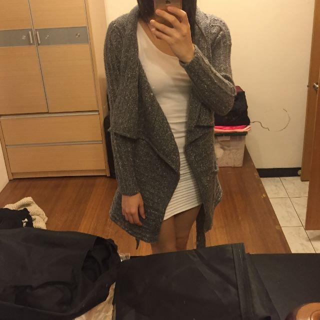 韓 灰色開襯綁帶外套