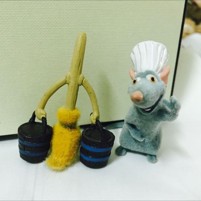 植絨公仔 料理鼠王 小米 拖把 迪士尼