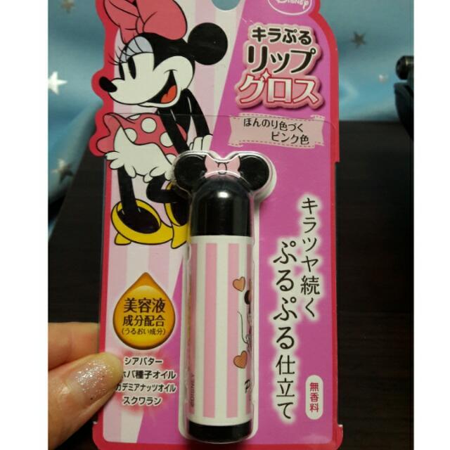 日本 迪士尼 米奇 米妮 護唇膏 粉色 無香料