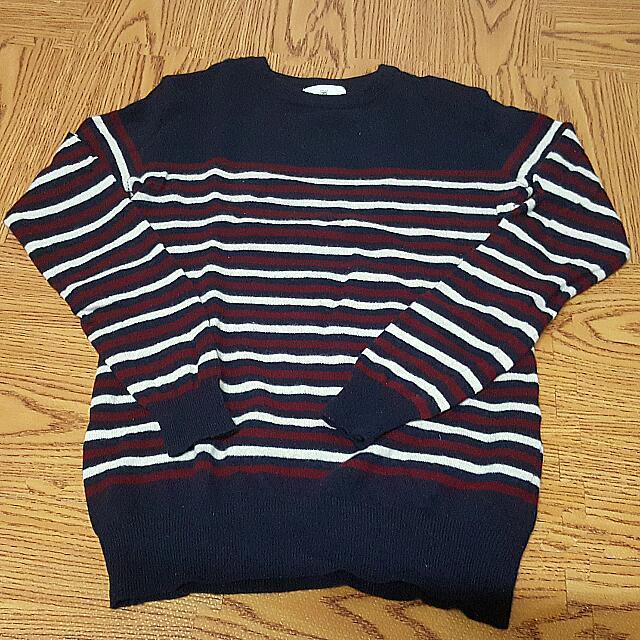 橫條紋 藍白紅 韓版 韓製 合身 毛衣 M號
