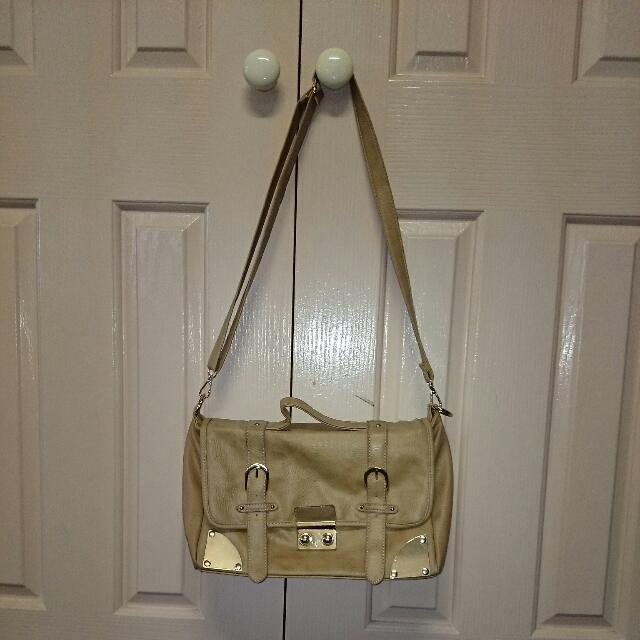 Beige Buckled Shoulder Bag