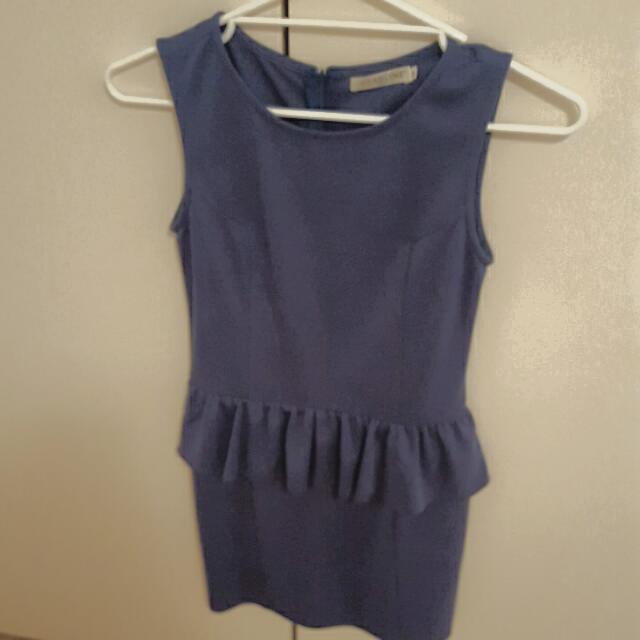 Blue Ruffled Office Dress