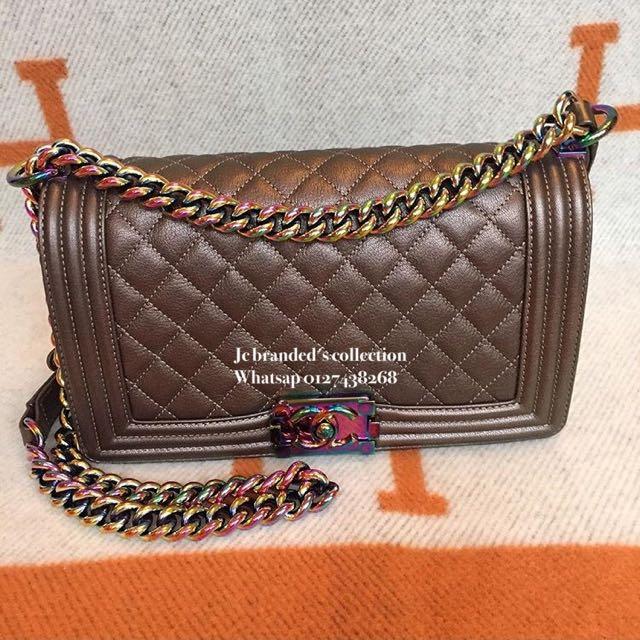 f5e9128055c4 BN. Chanel Old Medium Boy Bronze Rainbow Hardware, Luxury on Carousell