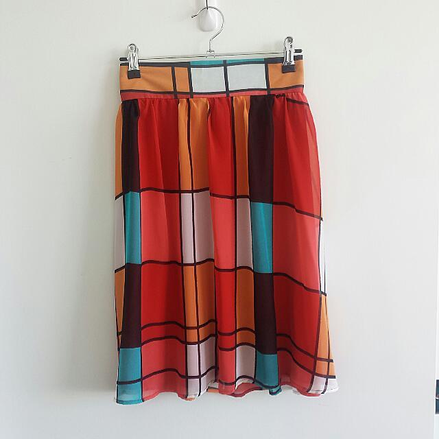 Bold, geometric print skirt/ Sz. L