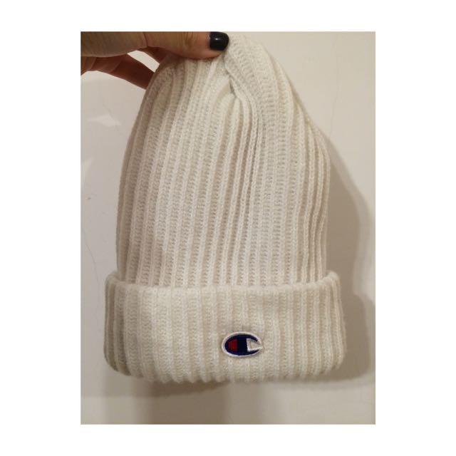 全新✨champion毛帽 白
