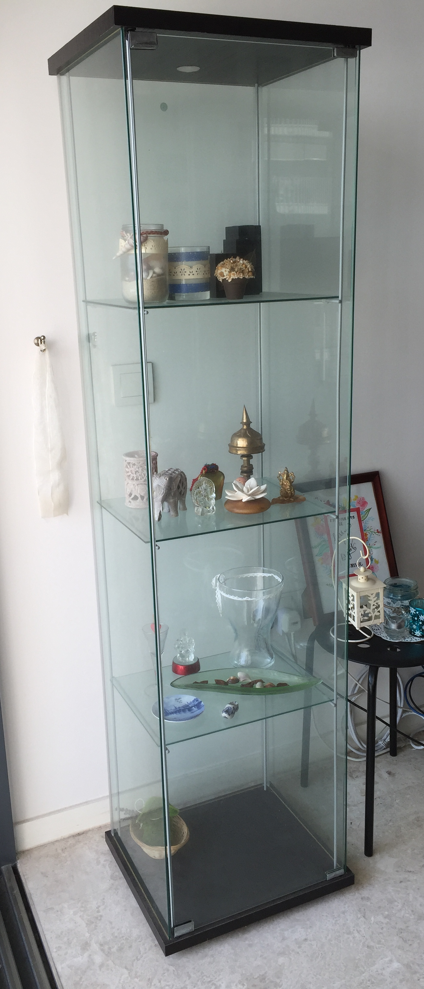 Ikea Detolf Glass Door Cabinet Black Brown Furniture On Carousell
