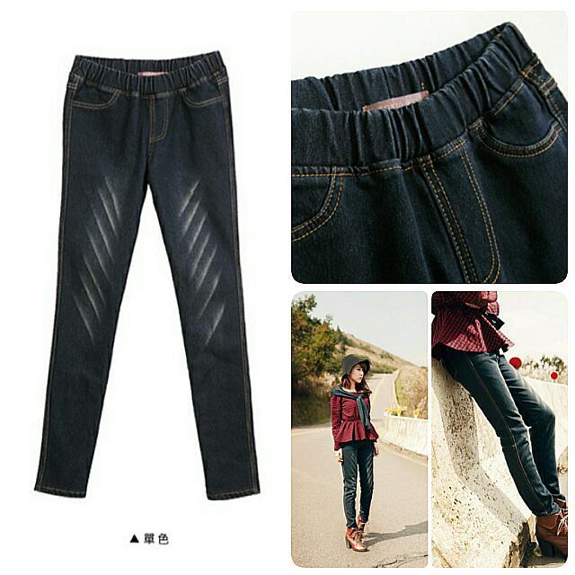 [轉賣]東京著衣-爪痕深藍磨毛牛仔窄管褲M