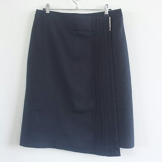 Office lady's skirt fold-over pleat detail/Sz.M