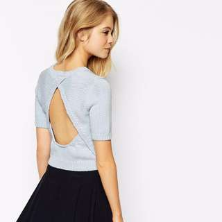ASOS Knitted Crop Top With Open Back