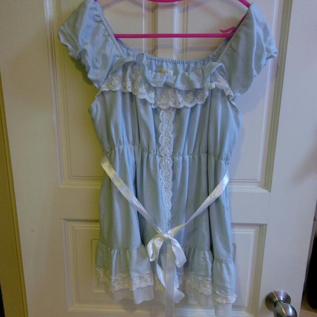 0918水藍娃娃裝上衣(附緞帶)