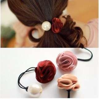 特價! 韓國 大珍珠髮飾品 簡單好搭配 現貨 酒紅 粉色各 1 小配件~搭配其他一起買超划算!