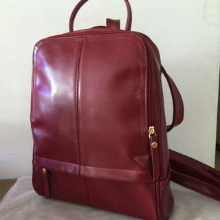 Vintage Style PU Leather Backpack In Maroon / Wine Red