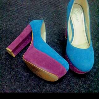 Velvet Duo Color Platform Heels