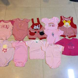 Bundle Of Baby Girl Clothes/Rompers/Tops/booties