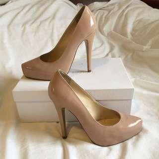 Tony Bianco Nude Patent Heels . Size 7