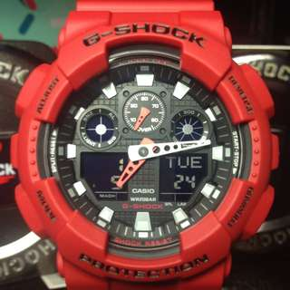 G-Shock GA-100 紅黑賽車
