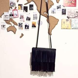 茉莉私物出清拍賣-ZARA 皮革流蘇肩背小包包
