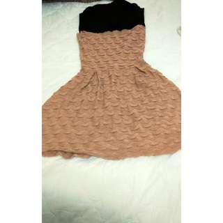 黑領粉藕色棉質波浪洋裝