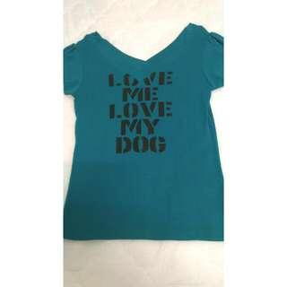 前後V領性感T-shirt/藍綠色