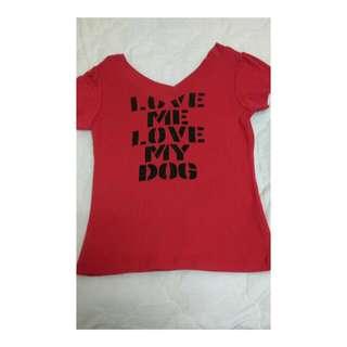 前後V領性感T shirt/紅色