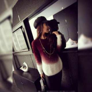Maroon Ombre Furry Long Sleeve