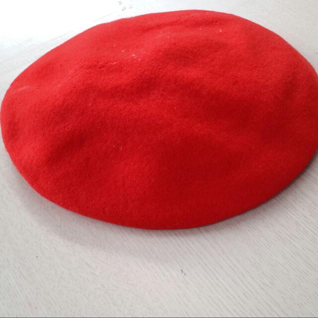 全新*日本製可愛感紅色貝蕾帽