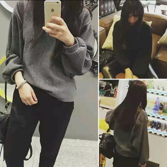 長袖灰色寬鬆衣