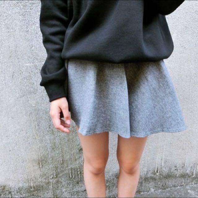 毛呢傘狀褲裙(灰)
