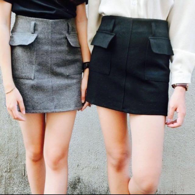 雙口袋呢毛窄裙(剩灰)