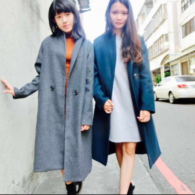 磨毛立領西裝大衣(藍綠/灰)