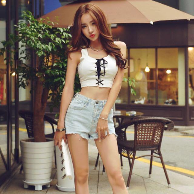 正韓性感馬甲無袖綁帶短背心