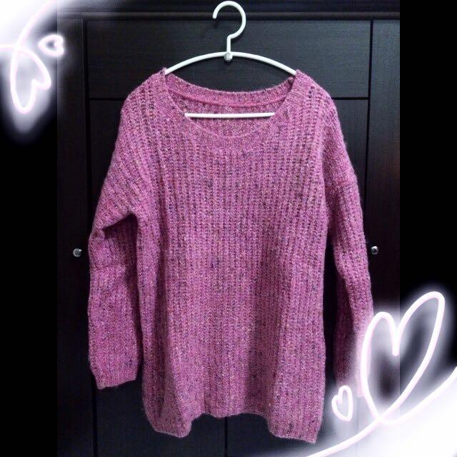👗混針織粉色針織上衣