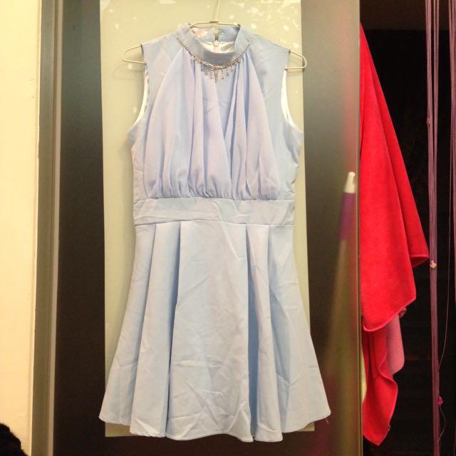 水鑽無袖雪紡洋裝
