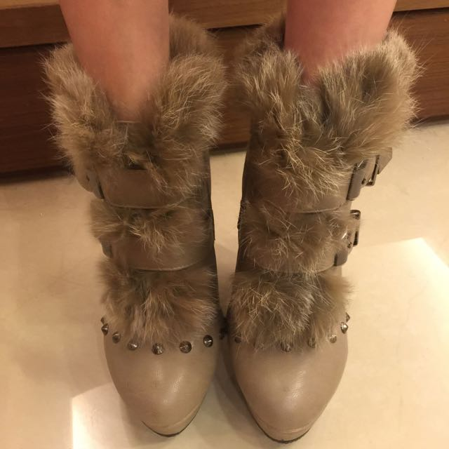 正韓 兔毛短靴