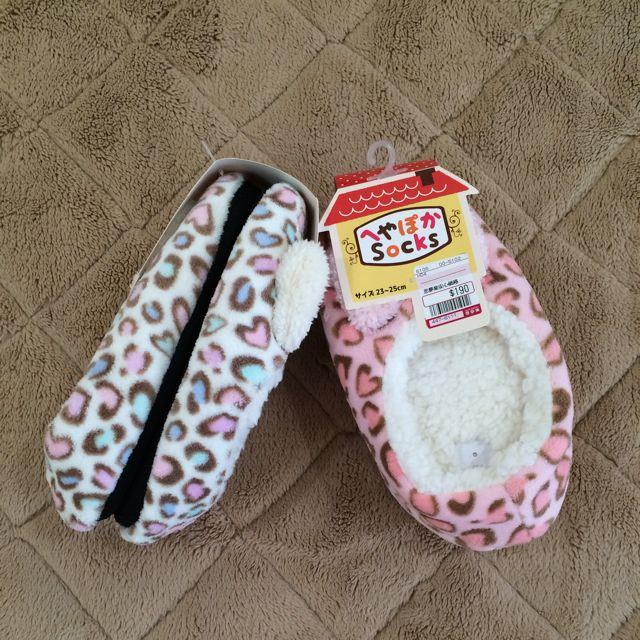 馬卡龍粉嫩豹紋暖冬室內拖鞋 白 / 粉