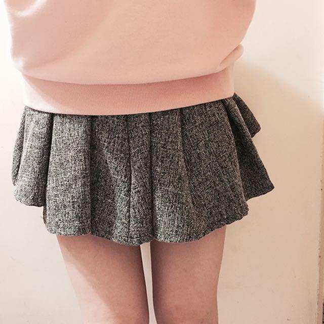 秋冬學院風灰色百摺短裙 有鬆緊 任何size都能穿