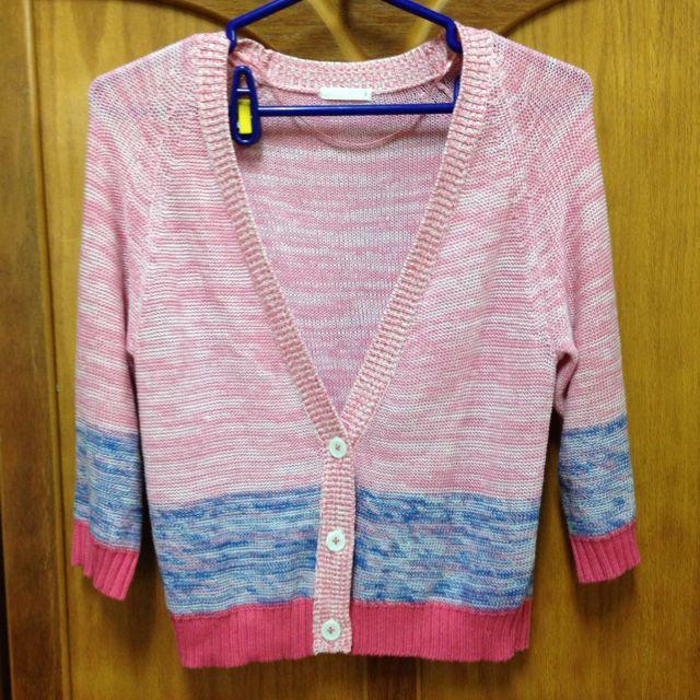 日本買回七分袖毛線針織外套 超可愛好搭 S-m身材都適穿
