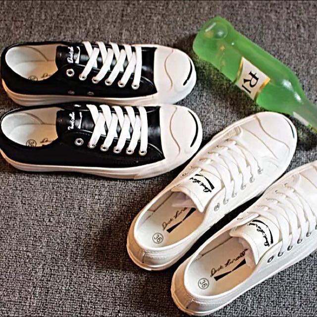 帆布鞋 似開口笑 低幫 帆布鞋 小白鞋 黑鞋 皮