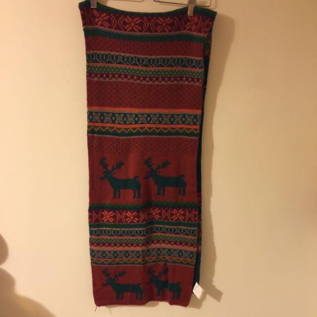 Apiratestore 兩面用 麋鹿 雪花 圍巾