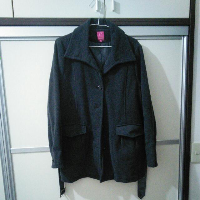 百貨專櫃~Betty's深灰毛料附腰帶氣質外套
