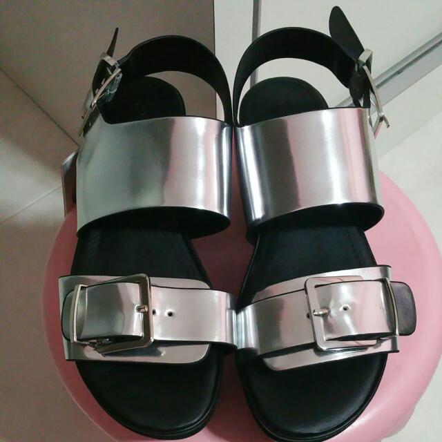 fe6b51460a6 BN Monki Aika Silver Grunge Platform Sandals