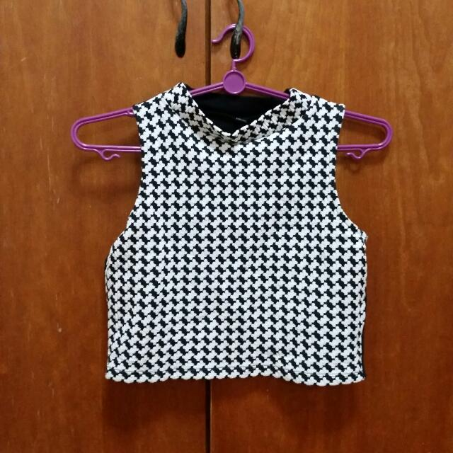 Cropped Houndstooth Top