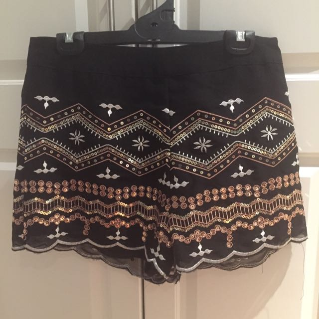 Dotti- Gold Sequin High Waisted Shorts