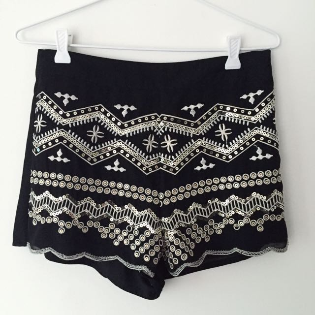 Embroidered Black High Waisted Shorts