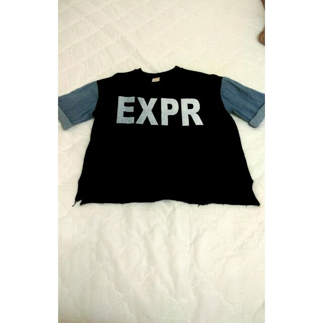 EXPR厚磅牛仔拼接 T-shirt