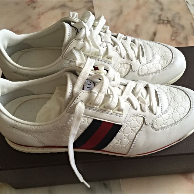 Gucci Leather Sneaker With Web Men Shoe